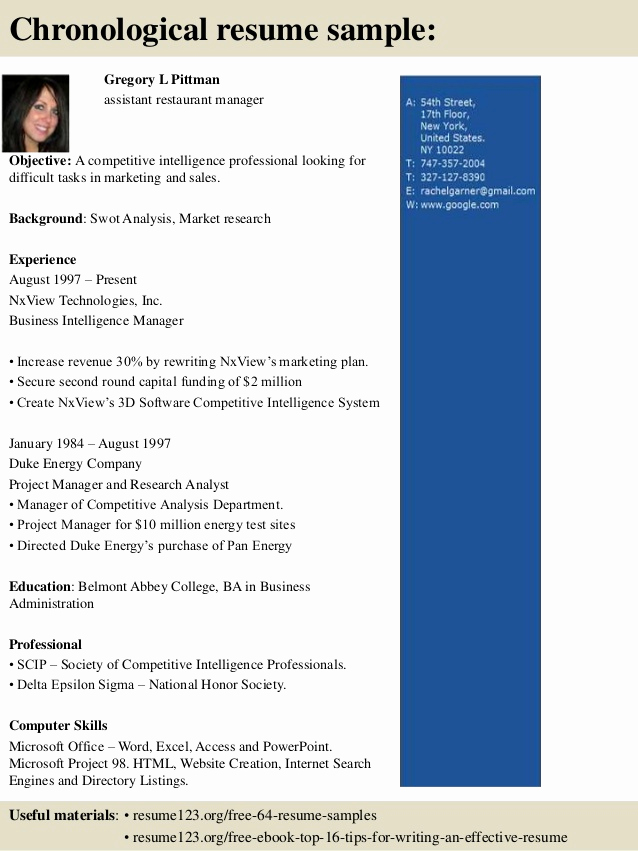 Restaurant Manager Resume Examples Elegant top 8 assistant Restaurant Manager Resume Samples