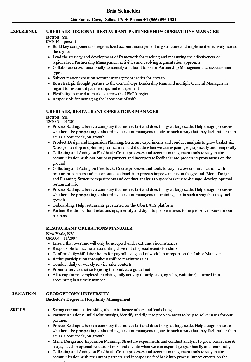 Restaurant Manager Resume Examples Fresh Restaurant Operations Manager Resume Samples
