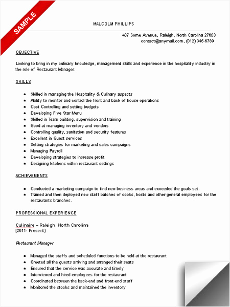 Restaurant Manager Resume Examples Inspirational Restaurant Manager Resume Sample