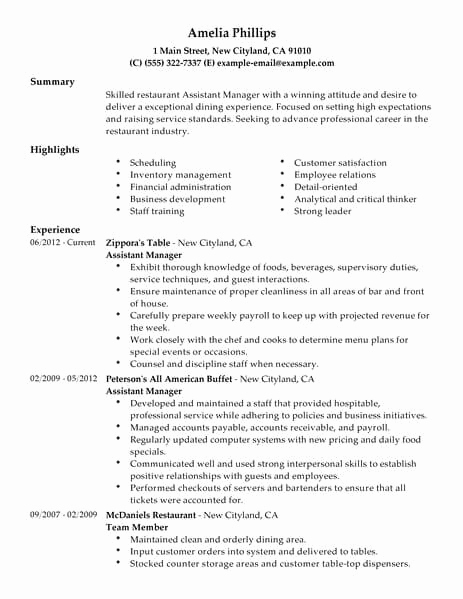 Restaurant Manager Resume Examples Lovely Best Restaurant assistant Manager Resume Example