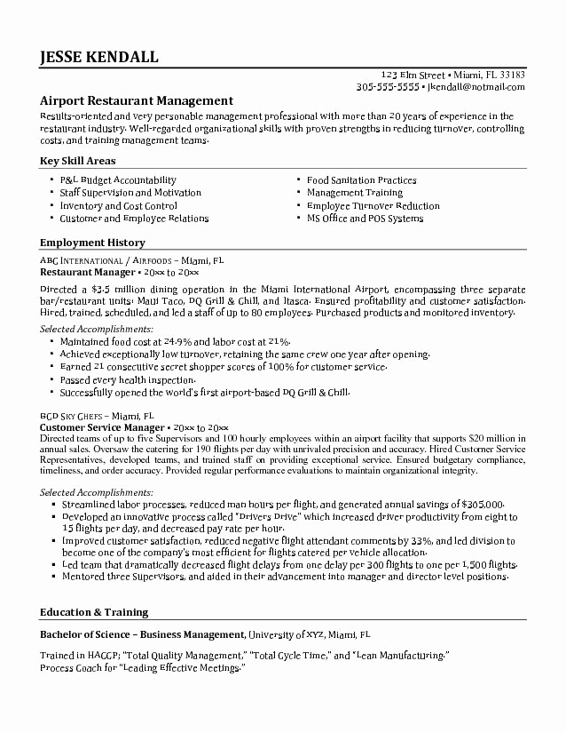 Restaurant Manager Resume Examples Lovely Restaurant Manager Skills Resume
