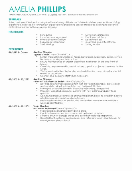 Restaurant Manager Resume Examples Luxury Best Restaurant assistant Manager Resume Example