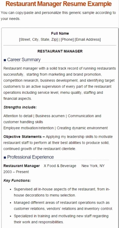 Restaurant Manager Resume Examples New 7 Best Restaurant Manager Resume