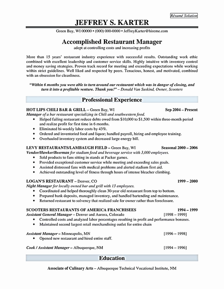 Restaurant Manager Resume Examples Unique Best 25 Restaurant Manager Ideas On Pinterest