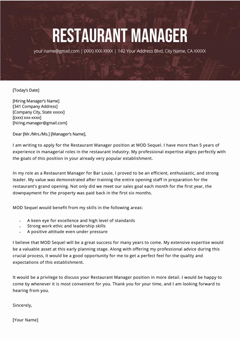 Restaurant Manager Resume Examples Unique Restaurant Manager Cover Letter Example