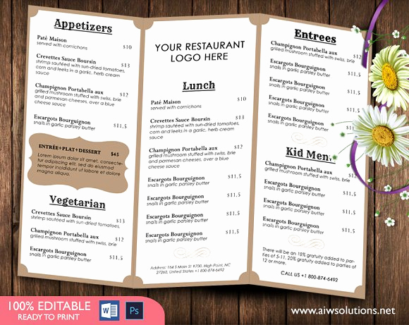Restaurant Menu Template Free Awesome Food Menu Template Brochure Templates Creative Market
