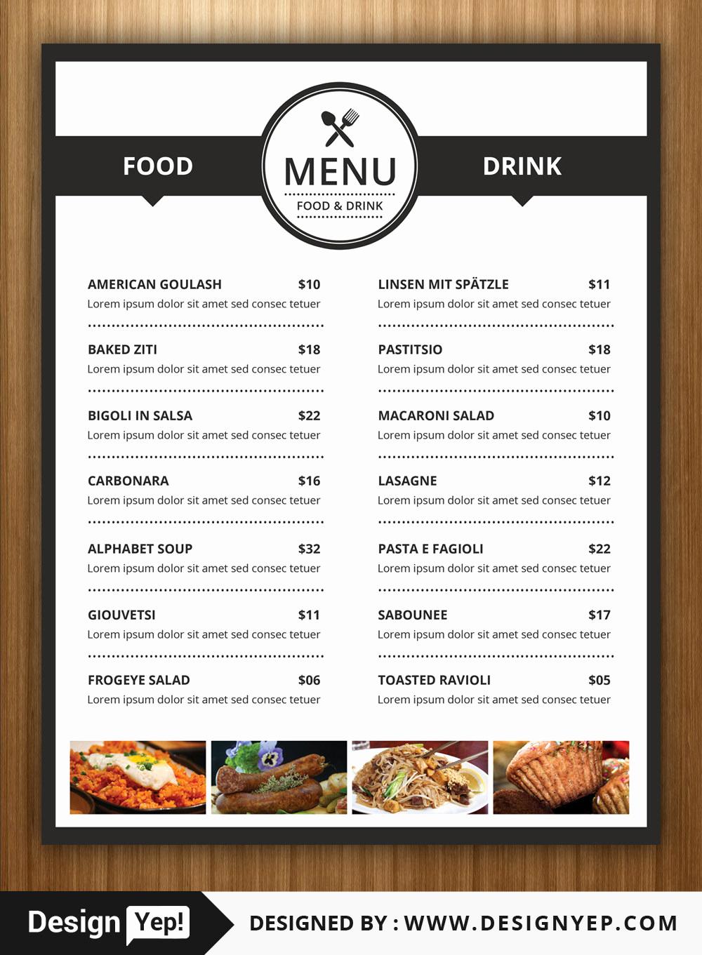 Restaurant Menu Template Free Elegant 40 Restaurant Food Menu Design Psd Templates