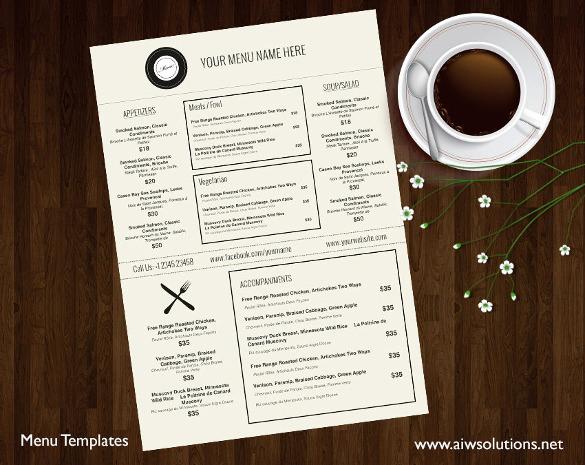 Restaurant Menu Template Free Fresh 28 Restaurant Menu Templates Psd Docs Pages