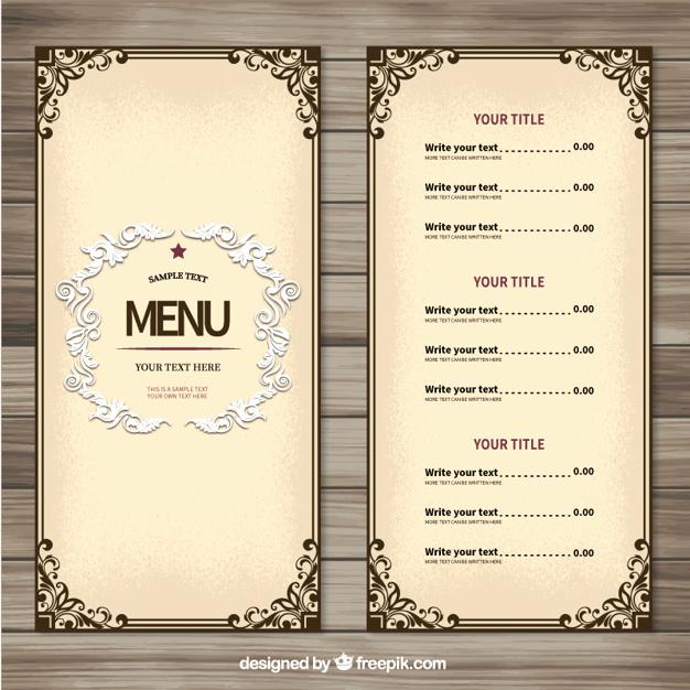Restaurant Menu Template Free Fresh Menu Vectors S and Psd Files