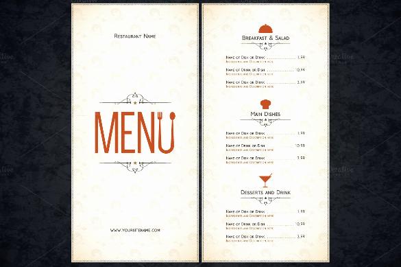 Restaurant Menu Template Free Luxury 51 Restaurant Menu Templates Design Psd Docs Pages