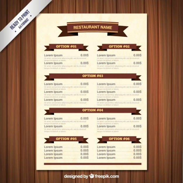 Restaurant Menu Template Free Luxury Menu Template with Ribbons Freepik Cafe Pin 9