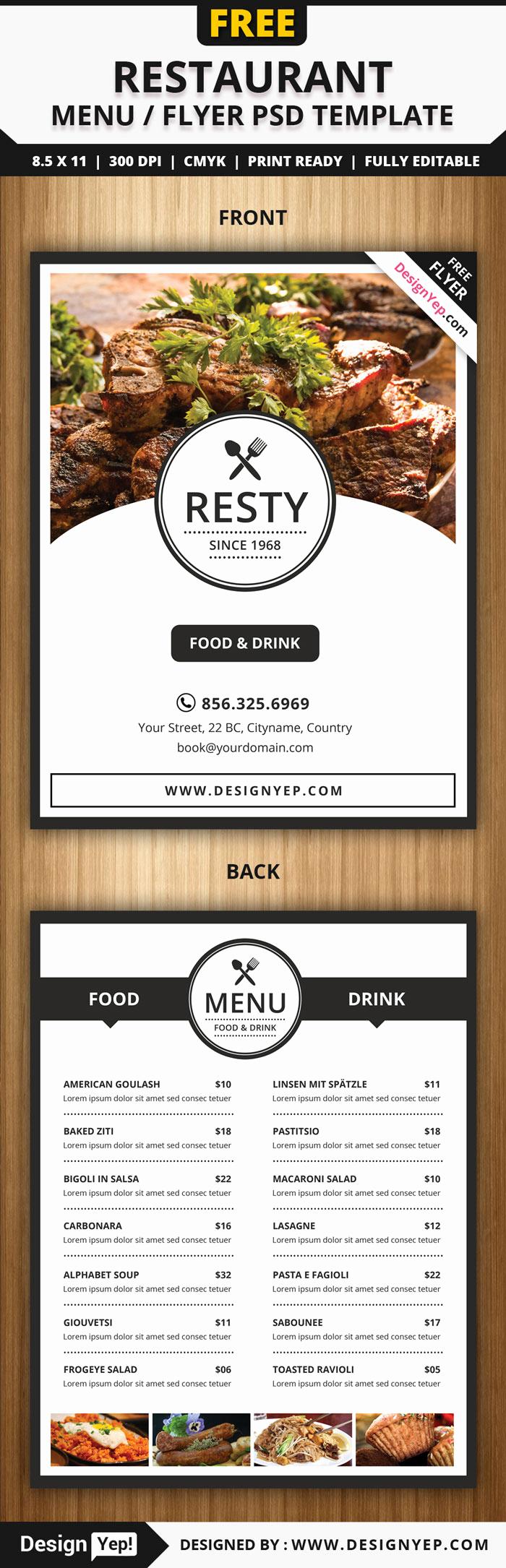 Restaurant Menu Template Free Unique 30 Free Restaurant and Food Menu Flyer Templates Designyep