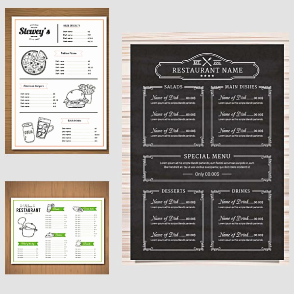 Restaurant Menu Template Free Unique Restaurant Menu Vector Templates