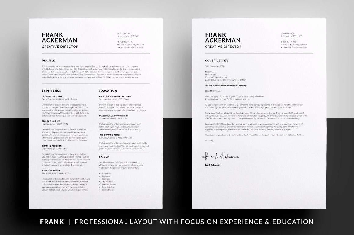Resume Cover Letter Template Word Elegant Essential Resume Cv & Cover Letter Collection Clean
