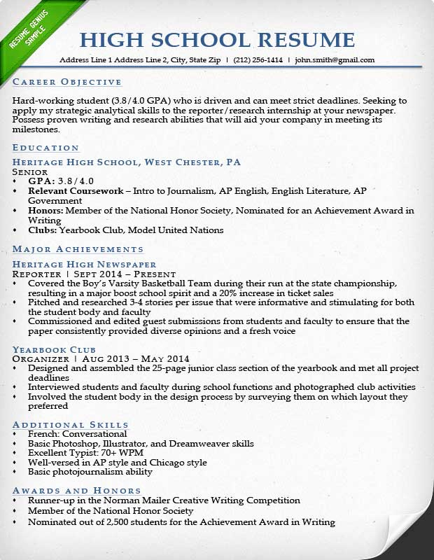 Resume Examples for Highschool Students Elegant 24 Best Student Sample Resume Templates Wisestep