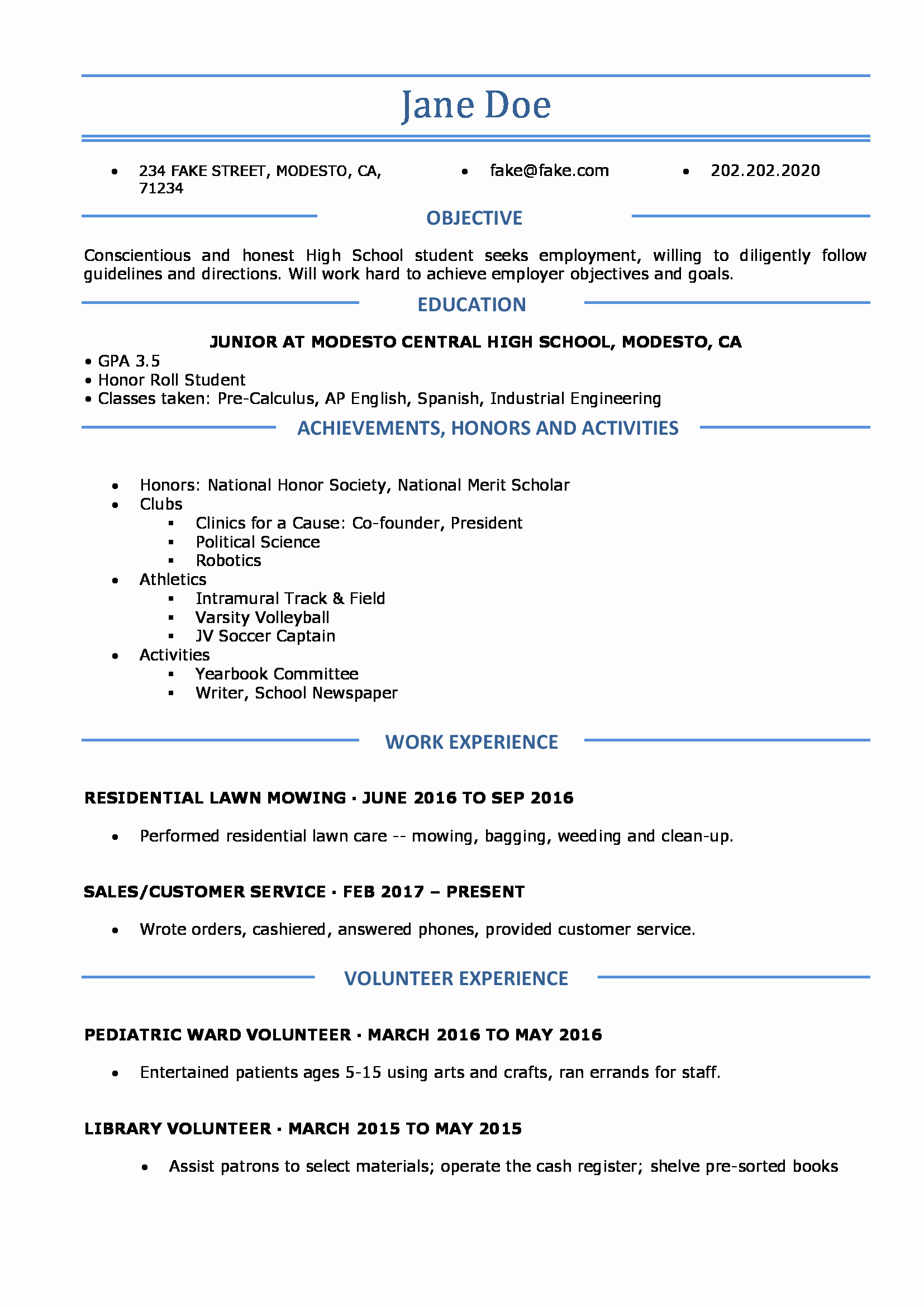 Resume Examples for Highschool Students Inspirational High School Resume High School Resume Templates