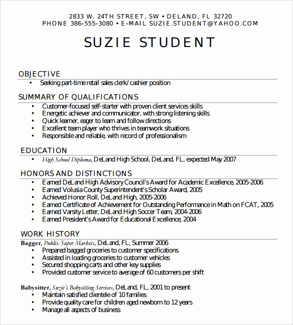 Resume Examples for Highschool Students Inspirational Sample High School Resume Template 6 Free Documents In