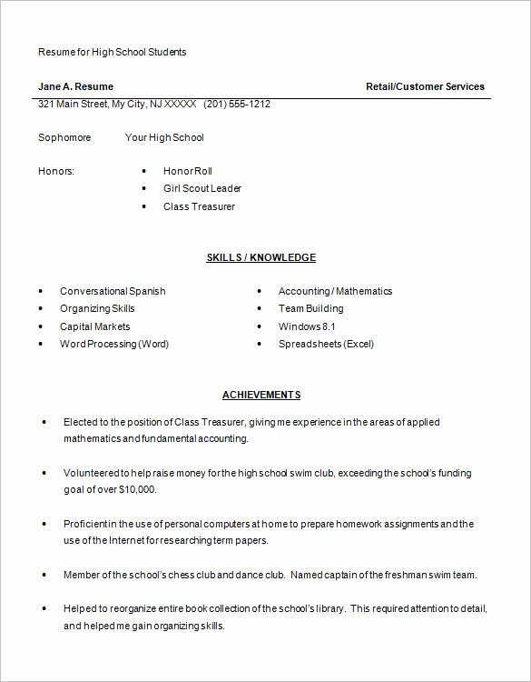 Resume Examples for Highschool Students Luxury for High School Students 4 Resume Examples