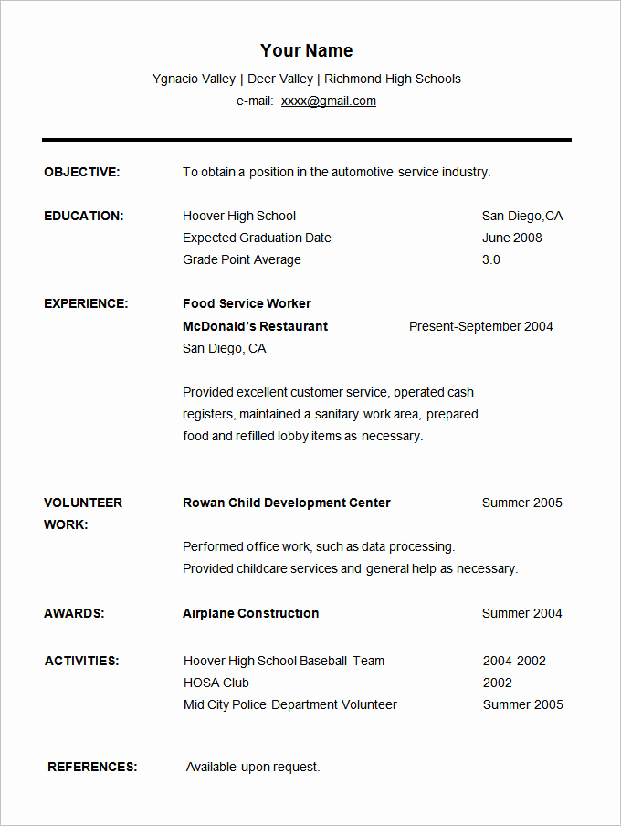 Resume for Highschool Students Beautiful 36 Student Resume Templates Pdf Doc