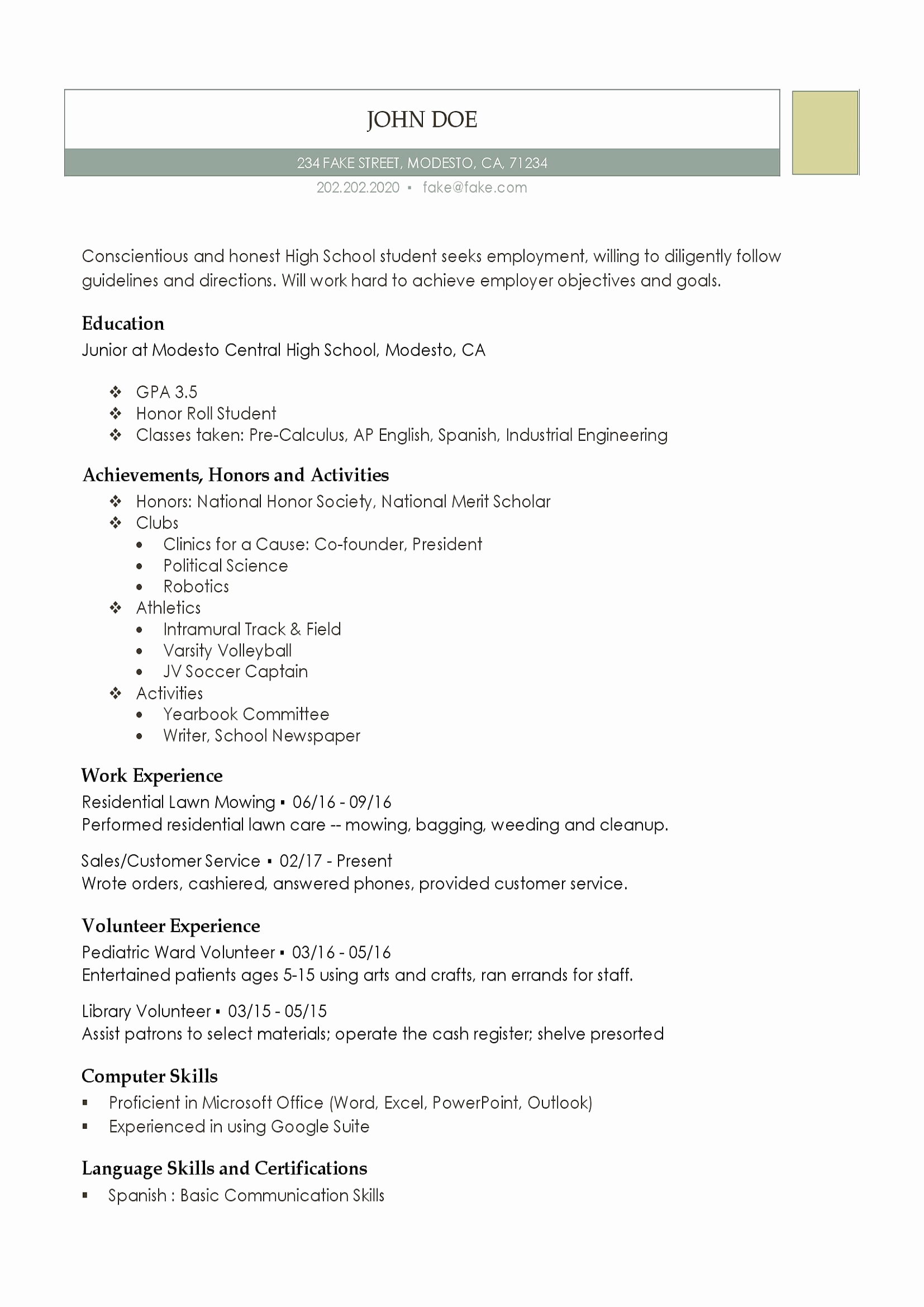 Resume for Highschool Students Beautiful High School Resume Resumes Perfect for High School Students