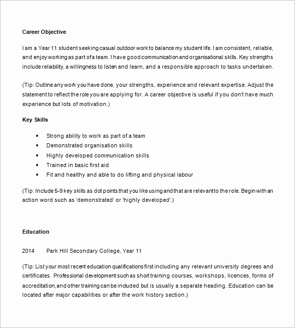 Resume for Highschool Students Best Of How to Write A Resume for Middle School Student – Resume