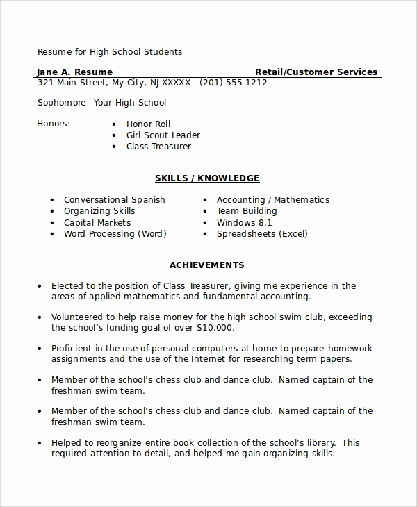 Resume for Highschool Students Fresh 8 High School Student Resume Samples