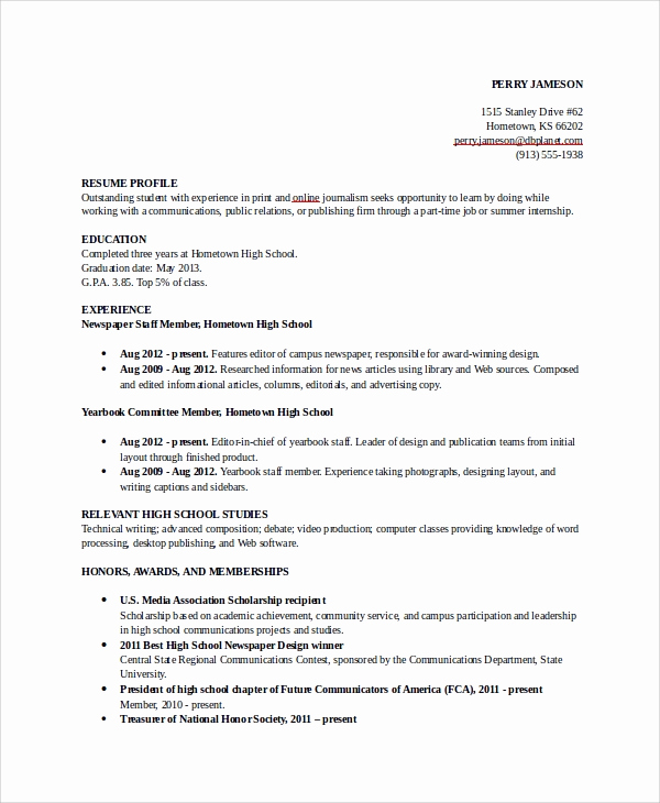 Resume for Highschool Students Fresh 8 Sample College Resumes – Pdf Doc