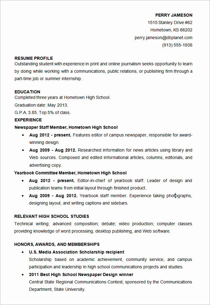 Resume for Highschool Students Inspirational Microsoft Word Resume Template 49 Free Samples