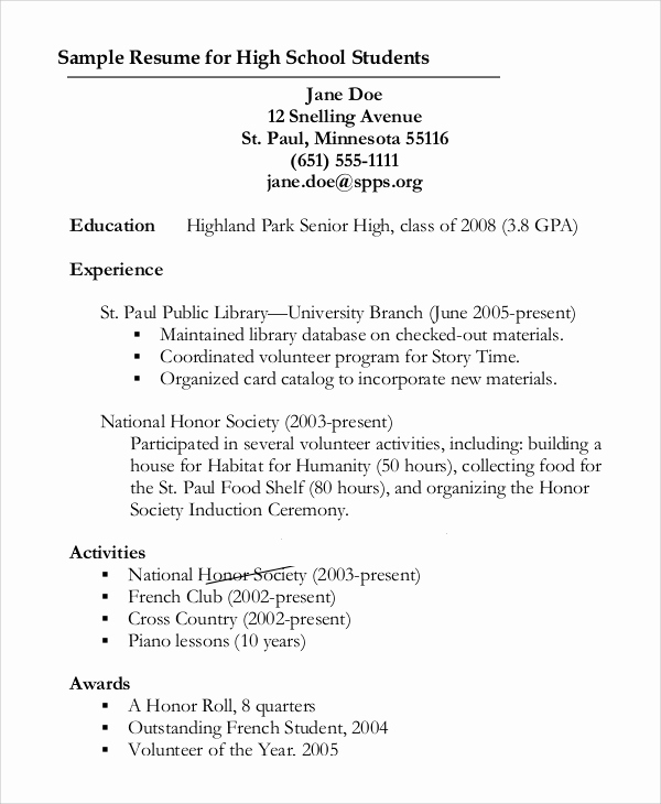 Resume for Highschool Students Unique 8 Resume Outline Samples