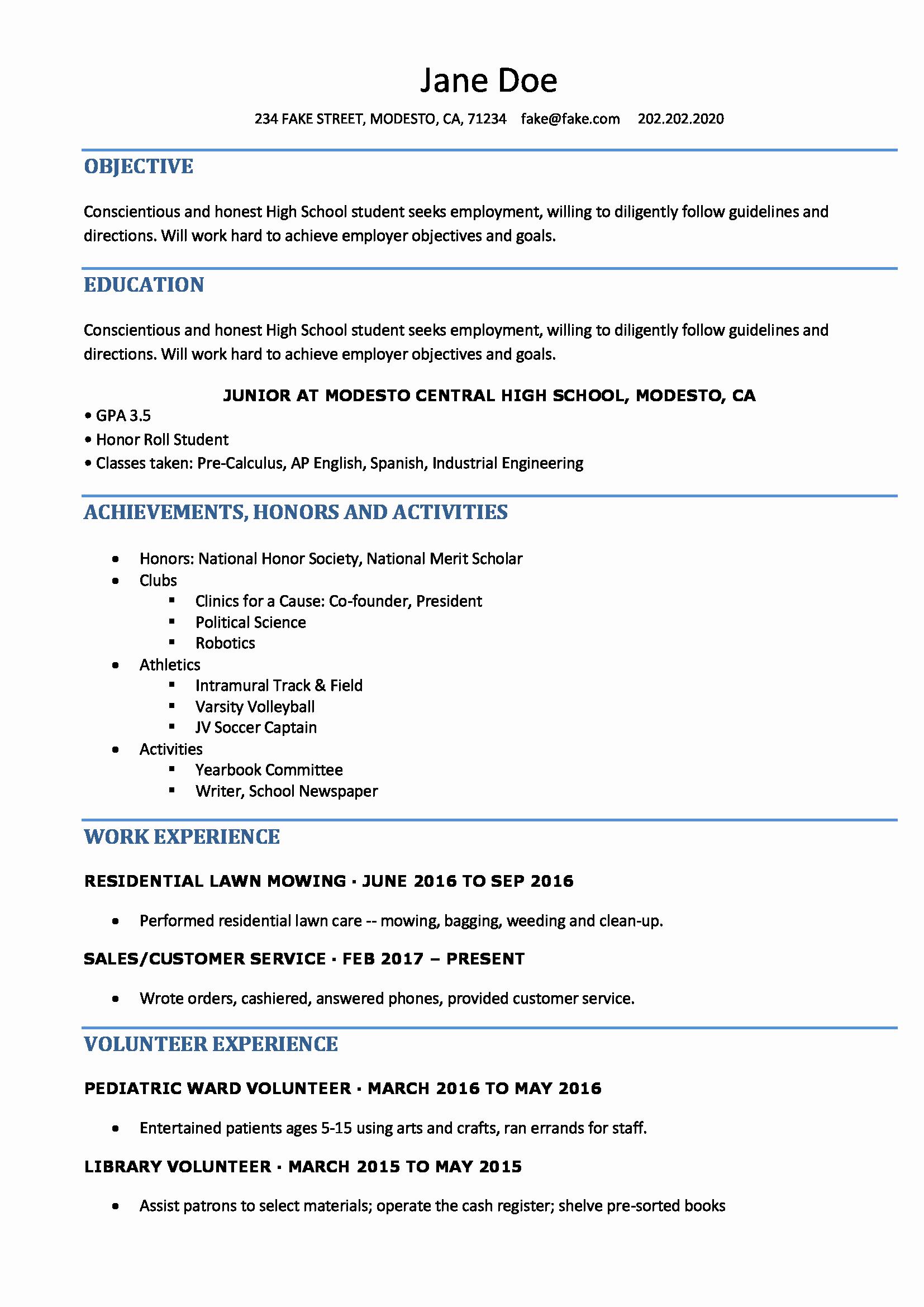 Resume High School Student New High School Resume Resumes Perfect for High School Students