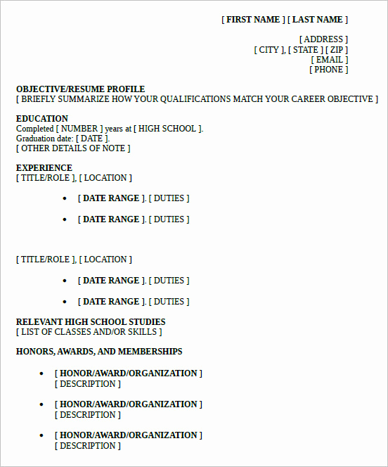 Resume High School Student Unique 10 High School Resume Templates – Free Samples Examples