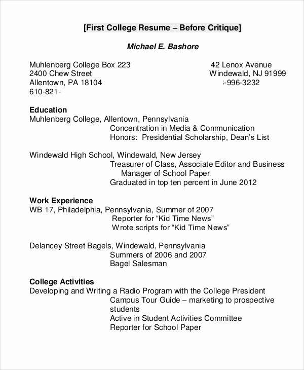 Resume Samples for College Student Luxury 8 College Resume Examples