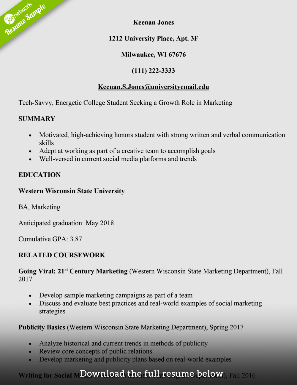 Resume Template College Student Fresh How to Write A College Student Resume with Examples