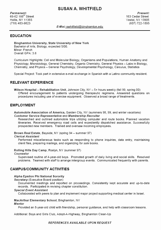 Resume Template College Student Luxury College Resume format for High School Students