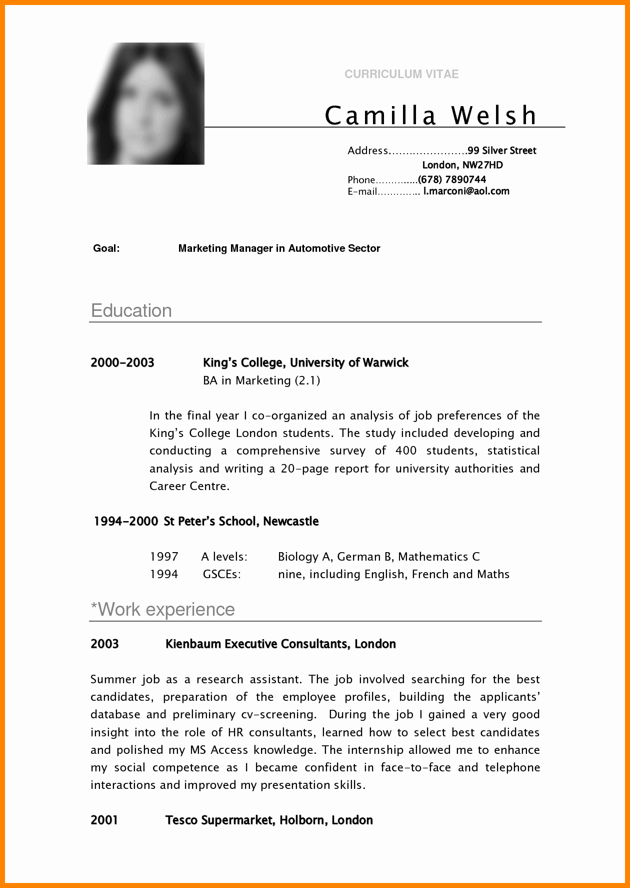 Resume Template College Student New 5 Cv Samples for College Students