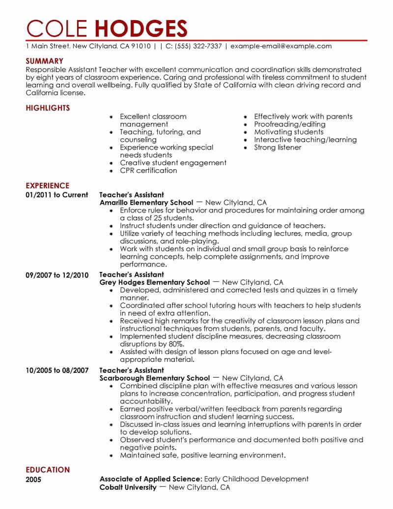 Resume Template for Teachers Best Of Best assistant Teacher Resume Example