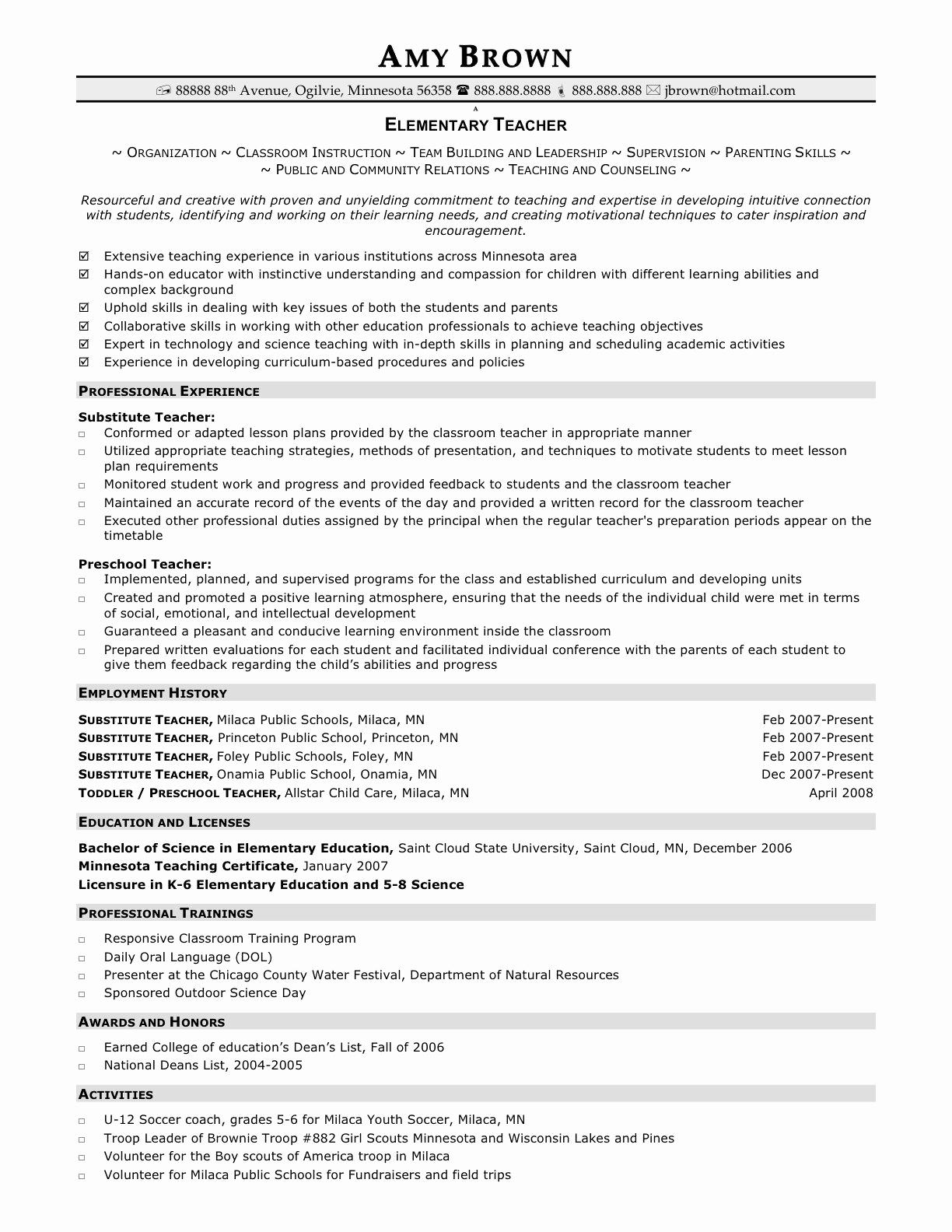Resume Template for Teachers Elegant Pin Oleh Jobresume Di Resume Career Termplate Free