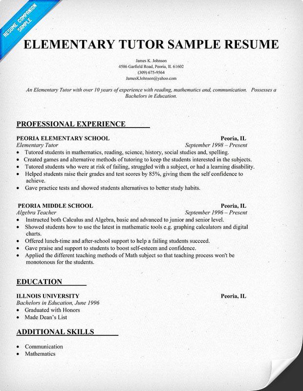 Resume Template for Teachers Fresh Resume Examples for Elementary Tutor Teacher Teachers
