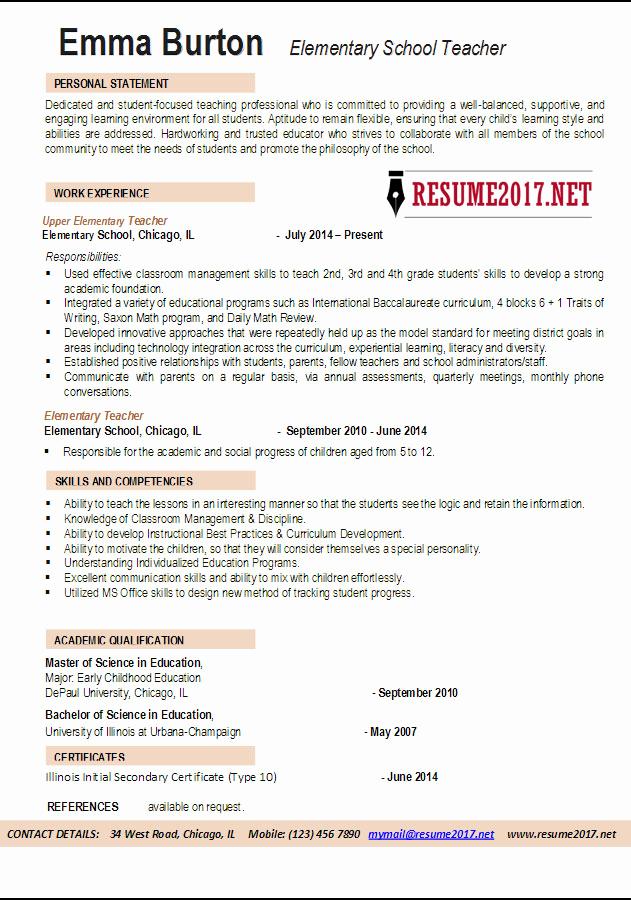 Resume Template for Teachers New Elementary School Teacher Resume Examples 2017