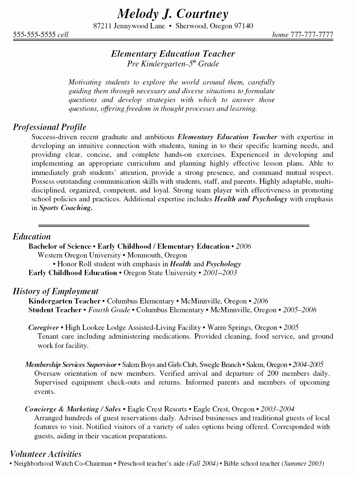 Resume Template for Teaching Beautiful Sample Teacher Resumes