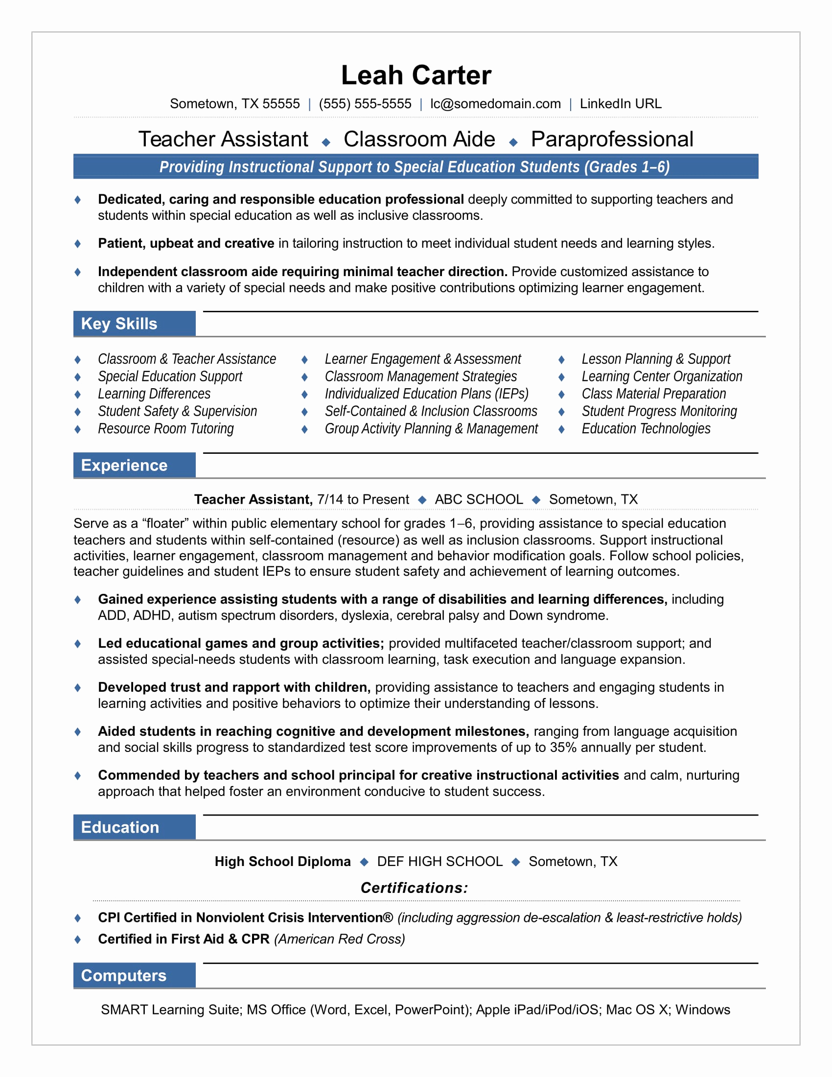 Resume Template for Teaching Elegant Teacher assistant Resume Sample