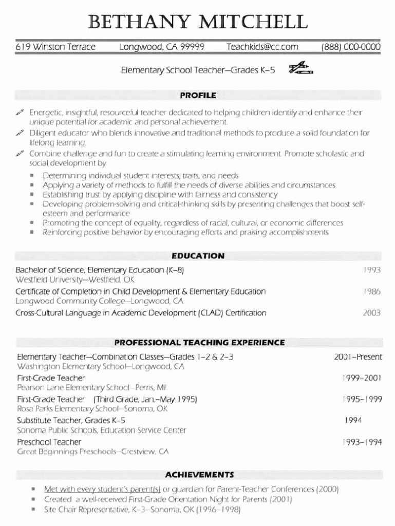 Resume Template for Teaching Inspirational Elementary Teacher Resume Examples … Resume