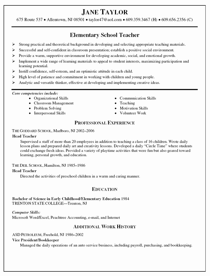 Resume Template for Teaching Luxury Best 25 Teacher Resumes Ideas On Pinterest