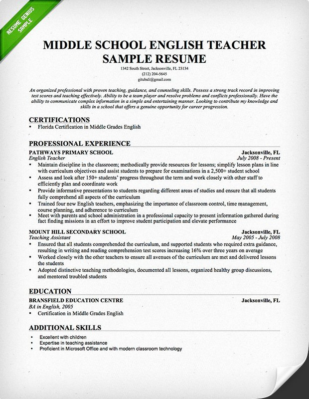 Resume Template for Teaching Luxury Teacher Resume Samples & Writing Guide