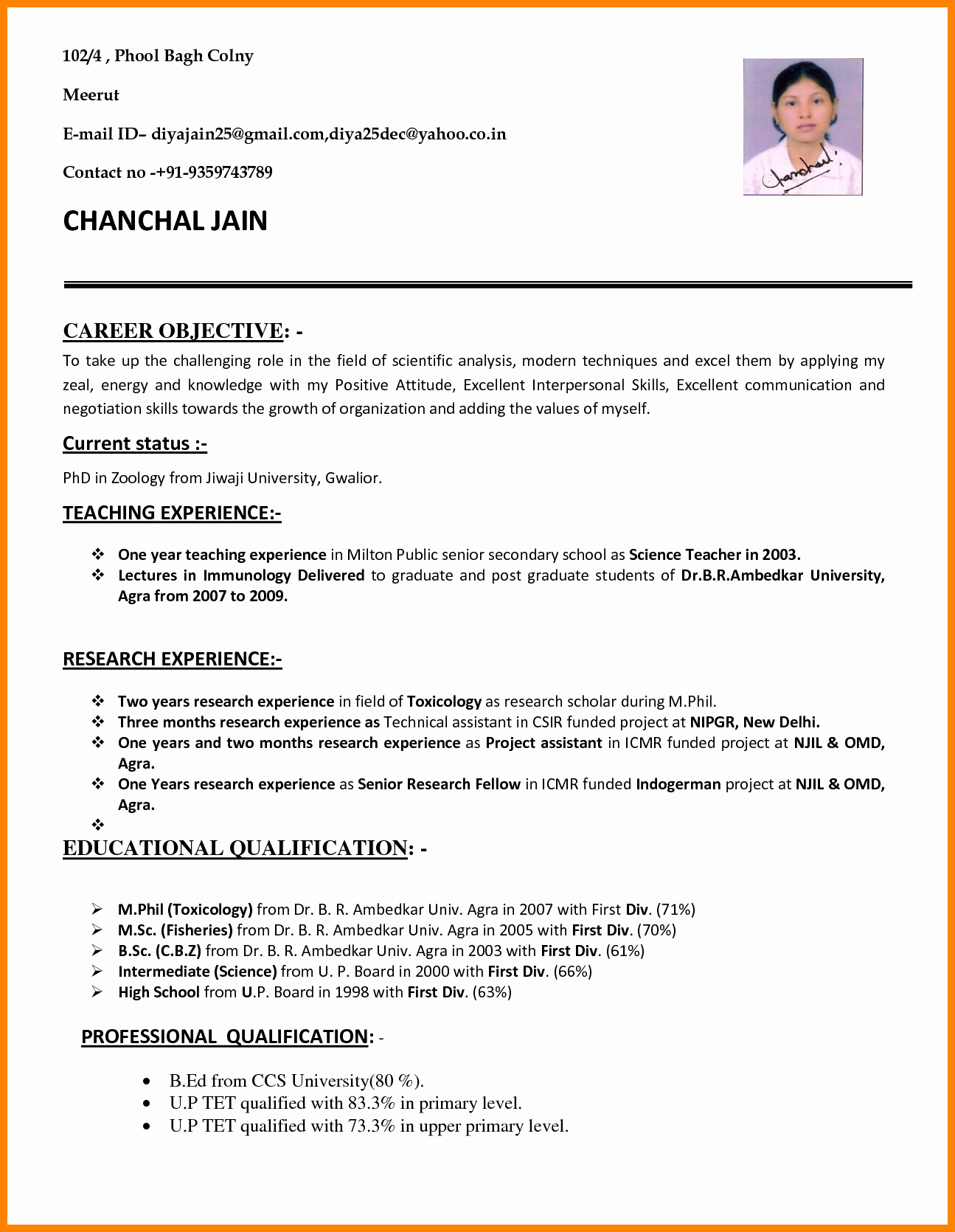 Resume Template for Teaching New 10 Cv format Teachers Job