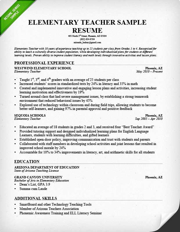 Resume Template for Teaching Unique Teacher Resume Samples & Writing Guide