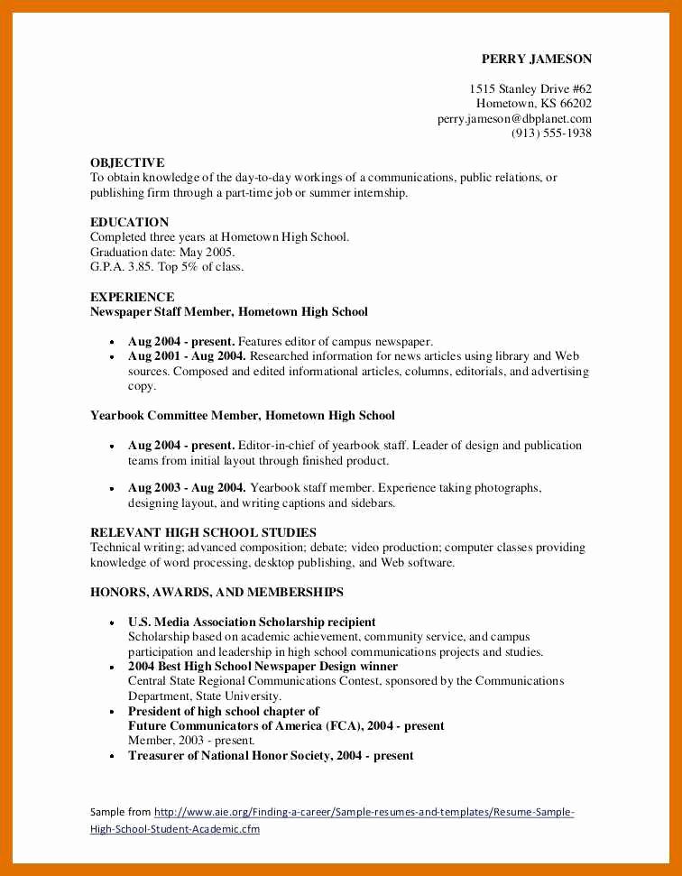 Resume Template for Teens Unique 7 8 Resume Objective Examples for Teenagers