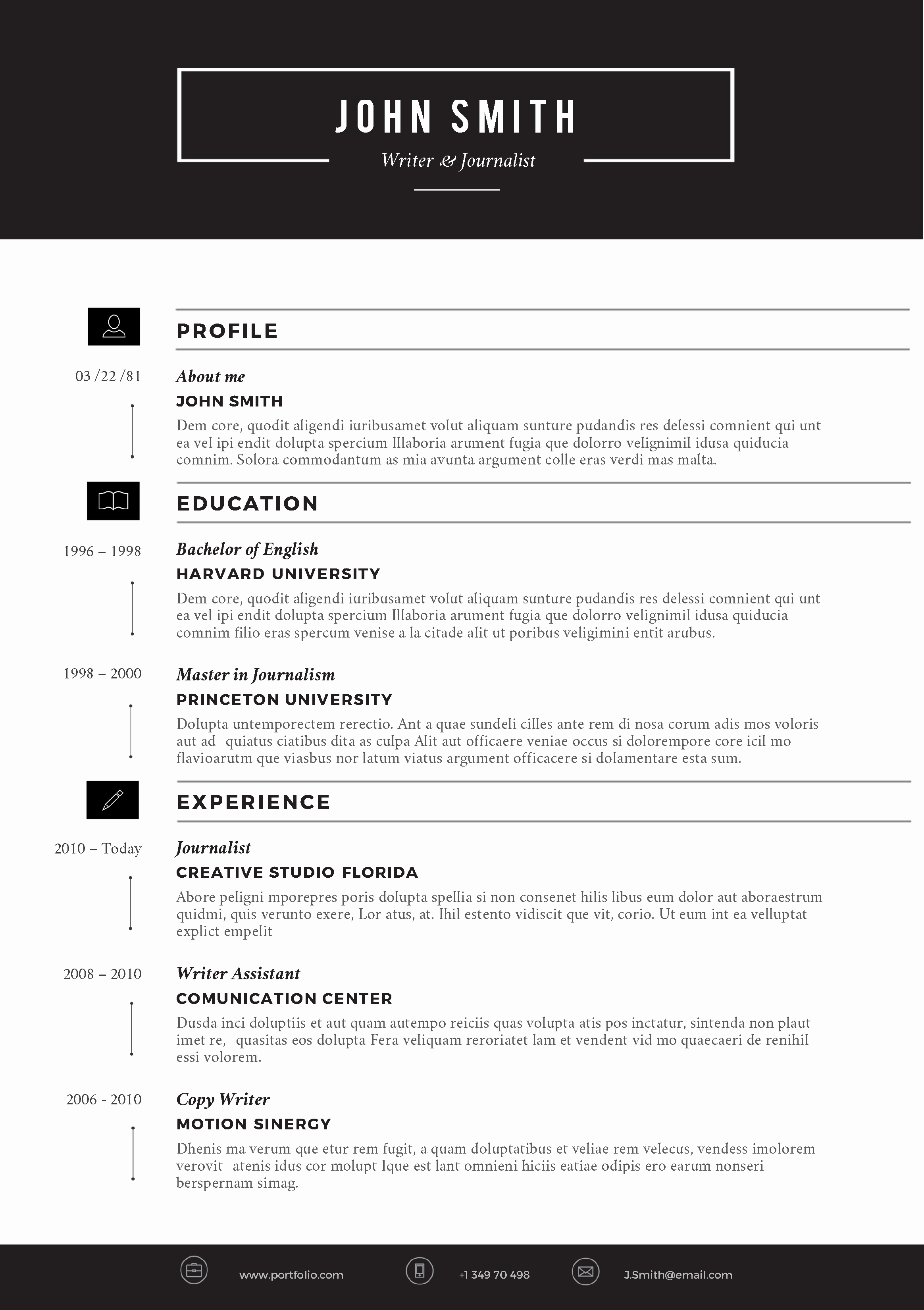 Resume Template with Photo Awesome Creative Resume Template by Cvfolio Resumes