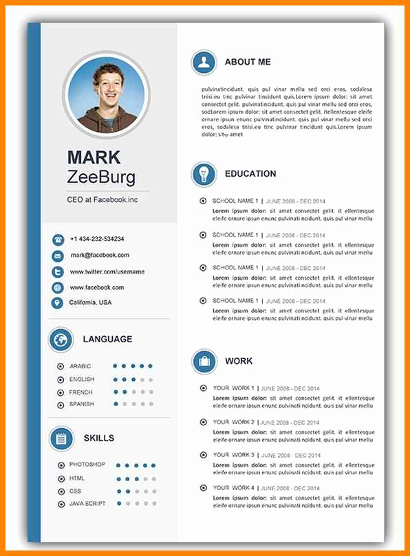 Resume Template with Photo Inspirational 20 Cv Template Word