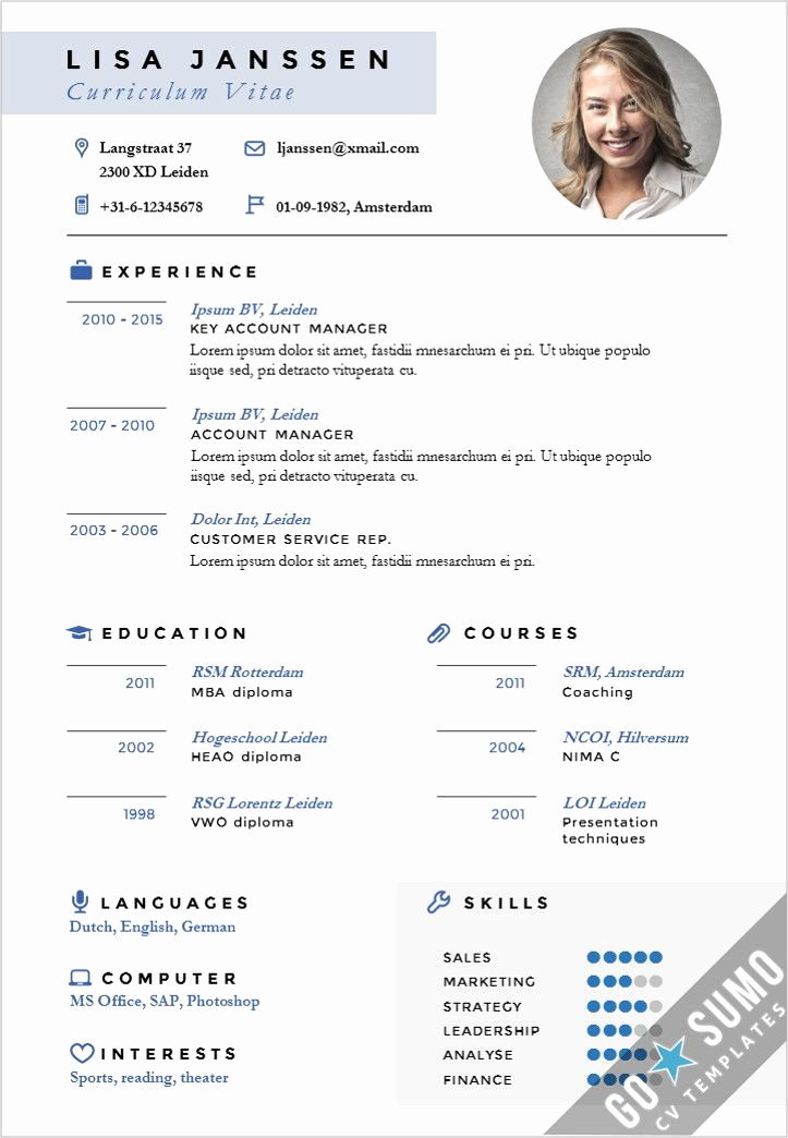 Resume Template with Photo Luxury Cv Template Leiden 黃尹蔓